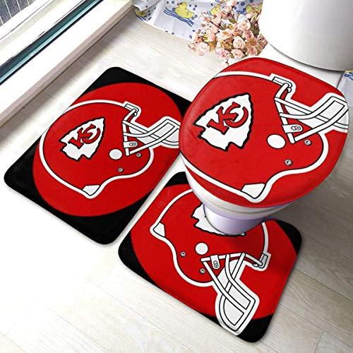 LAURE Kan-SAS City Chiefs 3-teiliges, rutschfestes, weiches Badteppichset für U-förmige Badteppiche, Matten und Toilettendeckel