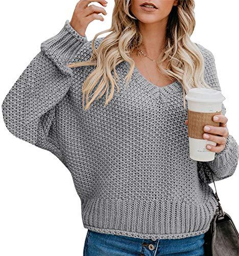 Yidarton Pullover Damen Casual Elegant Strickpullover Grobstrickpullover Sweatshirts Pulli V-Ausschnitt Langarm Lose Winter (8-Grau, 2XL)