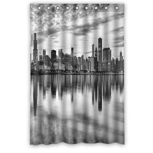 Chicago zwart-wit foto douchegordijn, doucheringen inclusief waterdicht polyester stof 48