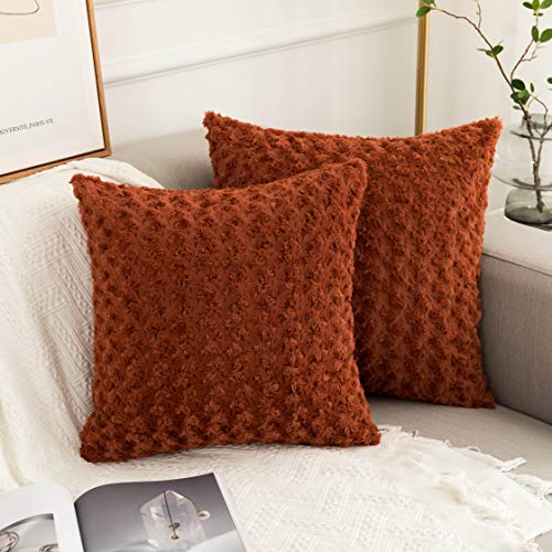 """UGASA Set of 2 Decorative New Luxury Series Merino Style Christmas Fur Throw Pillow Case Cushion Cover Pillow Covers for Bed (20"""" x 20"""" 50cm x 50cm), Burnt Brick"""