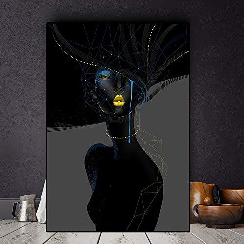 ganlanshu Abstrakte Leinwandmalerei der schwarzen Frau mit goldenen Lippen und Augen. Ölgemälde. Wohnzimmerkunst,Rahmenlose Malerei,45x67cm