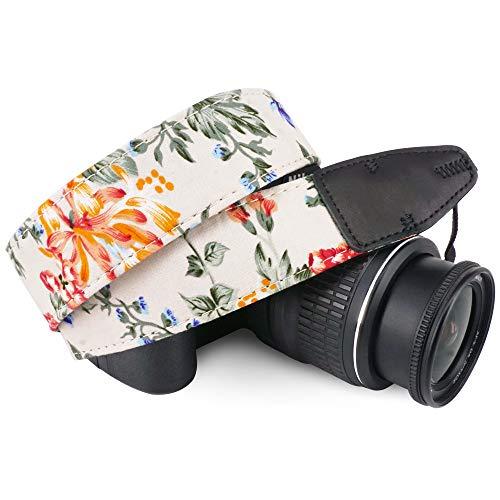 Wolven Pattern Cotton Camera Neck Shoulder Strap Belt Compatible with All DSLR/SLR/Men/Women etc, White Flower