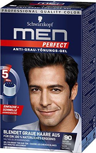 Schwarzkopf Men Perfect 90 Haartönung natur schwarz, hochwertige Haarfarbe gegen graue Haare 3er Pack (3 x 80ml)