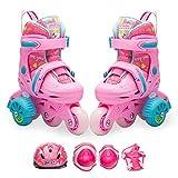 YUANYI Patines Ajustables Niña Principiantes Niños Niñas Flash Ruedas Zapatos De Patinaje Juego 2-10 Años De Edad,Pink-S(25-28)-set2