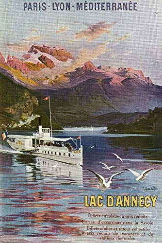 Haute-Savoie France Plaque en métal vintage Motif bateau sur le lac d'Annecy 20,3 x 30,5 cm