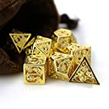 LiuliuBull W Hollow Out DND Dice Set Metal Dice Dungeon and Dragon Dice Polyhedral Dice Set RPG Dice with Bag D20 D12 D10 D8 D6 D4 (Color : B009)