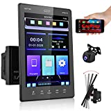 podofo Double Din Car Stereo Compatible with Voice Control Apple Carplay, 9.5 Inch Vertical Touchscreen MP5 Car Player Radio with Bluetooth/FM Radio/Mirror Link/SWC/USB + AHD Backup Camera