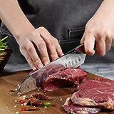 PAUDIN Damast Santokumesser 17cm - Profi Küchenmesser Messer aus Damaststahl mit Micarta-Griff - 3