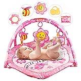 YAOBLUESEA Krabbeldecke mit Spielbogen Spieldecke Erlebnisdecke mit Musik für Baby Rosa Blumen Welt