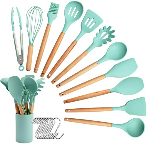 Silicone Cooking Utensil Set, 12PCS Kitchen Utensil Spatula Set Wooden Handle Cooking Tools Nonstick Cookware BPA Free Turner Tongs Spatula Spoon Kitchen Gadgets with Holder (Mint Green)