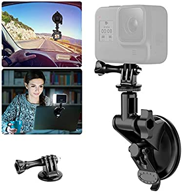 """Laptop Suction Cup Mount for Video Conference Lighting Replacement, with Clamp Mount Compatible with GoPro Hero 9 8 7 6 5 YI XIAOMI Action Camera, 1/4"""" Universal Camera DSLR Car Mount by UURig"""