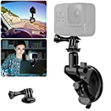 Laptop Suction Cup Mount for Video Conference Lighting Replacement, with Clamp Mount Compatible with GoPro Hero 9 8 7 6 5 YI XIAOMI Action Camera, 1/4' Universal Camera DSLR Car Mount