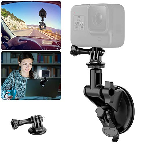 "Laptop Suction Cup Mount for Video Conference Lighting Replacement, with Clamp Mount Compatible with GoPro Hero 9 8 7 6 5 YI XIAOMI Action Camera, 1/4"" Universal Camera DSLR Car Mount"
