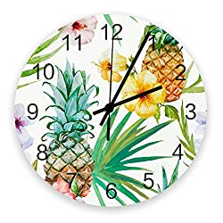 Modern Wall Clock Decor, Tropical Pineapple, Large Wall Clocks(Silent) for Living Room/Bathroom/Kitchen, Battery Operated Indoor Outdoor Wood Round Wall Decorative, 12inch, Summer Floral Fruit