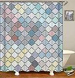 SLN Farbige Geometrische Quadrate.Duschvorhang. 180 X 180 cm. 12 C-Förmige Haken. Einfach Zu Säubern. Wasserdicht. Nicht Verblassen. Haus Dekoration.