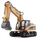 RCtecnic Excavadora Teledirigido a Escala 1:14 Profesional 15 Canales | Camión Construcción Excavadoras RC Radiocontrol a Bateria con Luces y Sonidos
