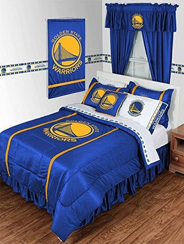 Golden State Warriors Juego de edredón de 3 piezas tamaño queen (1 edredón y 2 fundas de almohada), ahorra en la unión