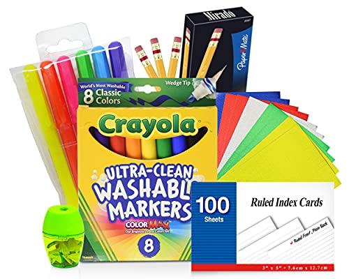 Ruled Index Cards, 3 x 5 Inch White Index Note Cards For School Supplies, Learning And Flash Cards, Includes Washable Markers, Pencils #2, Highlighters, Pencil Sharpener, Stickers