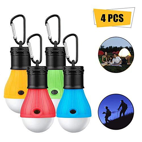 ASANMU Camping Lampen LED, 4 Stücke LED Campinglampe Campingleuchte mit Karabiner Tragbare Laterne Zelt Leuchtmittel Zeltlampe Glühbirne Set für Camping, Abenteuer, Wandern, Angeln, Notlicht (Farbe)