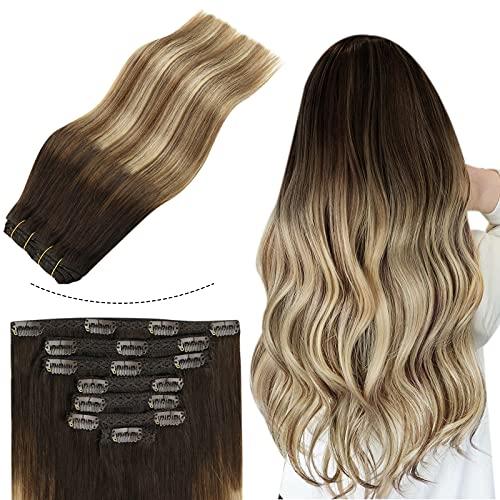 Sunny 7pcs/120g Extension a Clip Cheveux Naturel Blond Remy Hair - Brun Foncé Ombre Brun Moyen mixte Blond Clair - Rajout Cheveux Clip Naturel Balayag