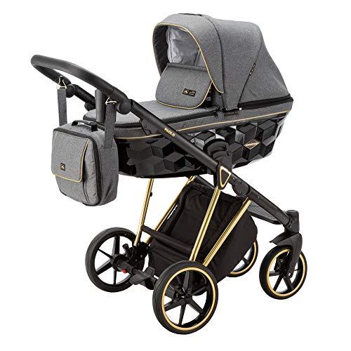 Adamex Paolo Special - Cochecito de bebé combinado con bolso cambiador + pantalla + mosquitera + soporte para bebidas y manguitos de invierno (TK-572, 3in1)