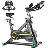 ANCHEER Indoor-Heimtrainer,Indoor Cycling Bike Fitnessbike Mit APP Herzfrequenzmonitor & LCD Monitor, Bequeme Sitzkissen, Schwere Schwungrad Upgrade Version, Multi-Grips