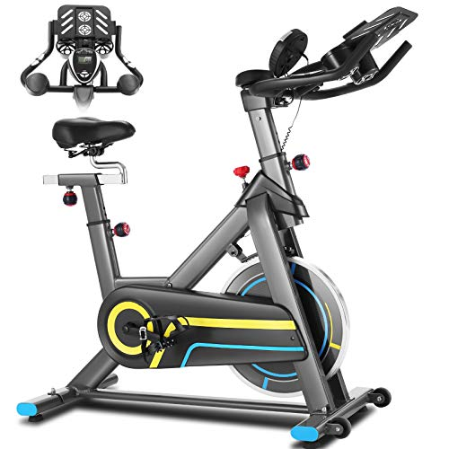 ANCHEER Indoor-Heimtrainer,Indoor Cycling Bike Fitnessbike Mit APP Herzfrequenzmonitor & LCD Monitor, Bequeme Sitzkissen, Schwere Schwungrad Upgrade Version, Multi-Grips