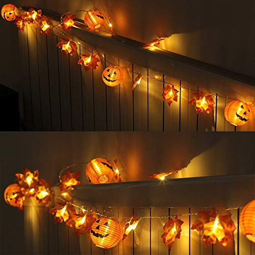 zhengyang Decoración de calabaza LED calabaza hoja de arce guirnalda de luces de Halloween 3D calabaza luces para Halloween Acción de Gracias Decoración de otoño Luz de calabaza Decoración de calabaza