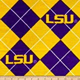 NCAA Louisiana State Tigers Fleece Argyle Purple/Gold, Fabric by the Yard