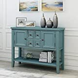 LUMISOL Farmhouse Sideboards and Buffet with Storage Console Table with Two Cabinets and Bottom Shelf (Dark Blue)