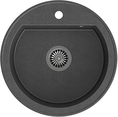 VBChome Spülbecken Schwarz 51 cm Rund Spüle Granitspüle Einzelbecken Küche Einbauspüle Verbundspüle Küchenspüle gesprenkelt + Siphon Waschbecken