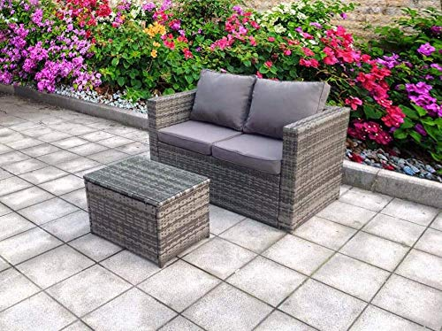 UK Leisure World NEW SINGLE GREY SOFA TWIN TABLE WITH COFFEE TABLE RATTAN WICKER CONSERVATORY OUTDOOR GARDEN FURNITURE SET Grey