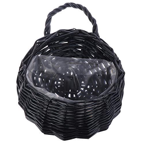 TUANTUAN 1 cesta de flores de mimbre, hecha a mano, cesta de mimbre tejida a mano, cesta para colgar en la pared, cesta de mimbre idílica, para colgar en la pared, maceta, color café negro