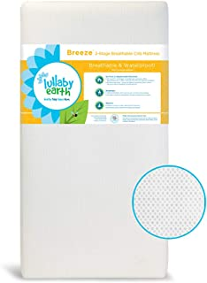 LULLABY EARTH Breeze Crib Mattress 2-Stage | 100% Breathable Surface, Removable Washable Protector Built-in | Fits Baby Toddler Bed - White