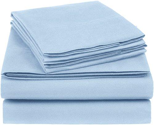 AmazonBasics Essential Cotton Blend Bed Sheet Set, Queen, Smoke Blue