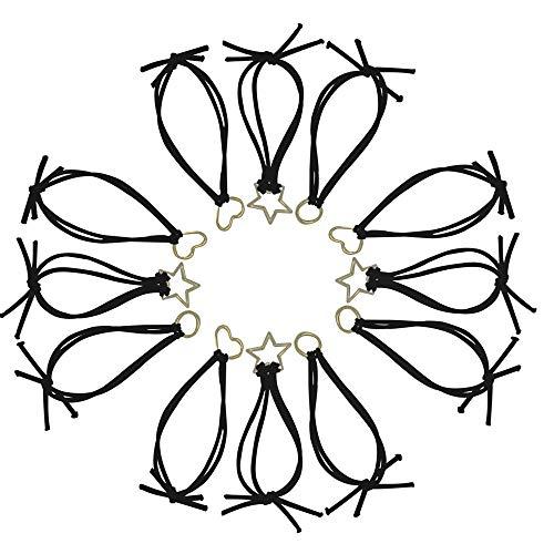 12 fasce elastiche per capelli per coda di cavallo, con motivo geometrico, per donne e ragazze, a forma di cuore, con pentagramma rotondo