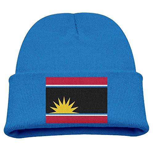 Gorro de punto suave para niños, diseño de bandera de Antigua y Barbuda, unisex, color azul real