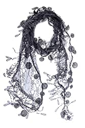 S3129 Charcoal Leafy Lace Scarf With Tassels