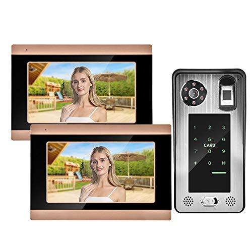 zcyg Timbre Timbre para Puerta Video por Cable Timbre, 7 Pulgadas WiFi Video con Cable Video Video Remoto con 1 Cámara 2 Monitores