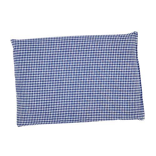 Raps-Samen-Kissen Wärmekissen Nacken Schulter Mikrowelle Rücken Körner 20x30 cm blau weiß kariert