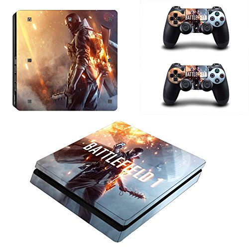 MightyStickers - Battlefield 1 PS4 Slim Console Wrap Cover Skins Vinyl Sticker Decal Protective for Sony PlayStation 4 Slim & Controller