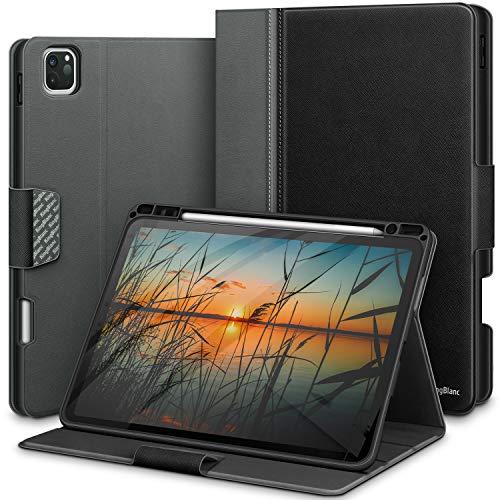 KingBlanc Hülle für iPad Pro 11 2020 mit Stifthalter, Auto Schlaf/Wach Funktion, Unterstützt Koppeln/Kabelloses Laden für Apple Pencil, Smart Cover Case mit iPad Pro 11 inch 2020/2018 (Schwarz)