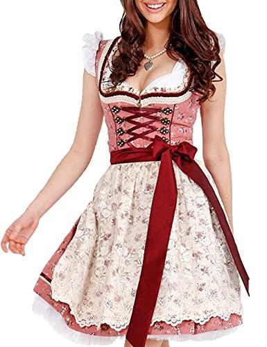 Krüger MADL Damen Dirndl Valencia - Rot Natur 60cm - Gr. 42