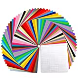 Vinyl Sheets, Ohuhu 70 Permanent Adhesive Backed Vinyl Sheets Set, 60 Vinyl Sheets 12' x 12' + 10 Transfer Tape Sheets, 30 Color Sheet for Birthday Party Valentine's Decoration, Sticker, Craft Cutter