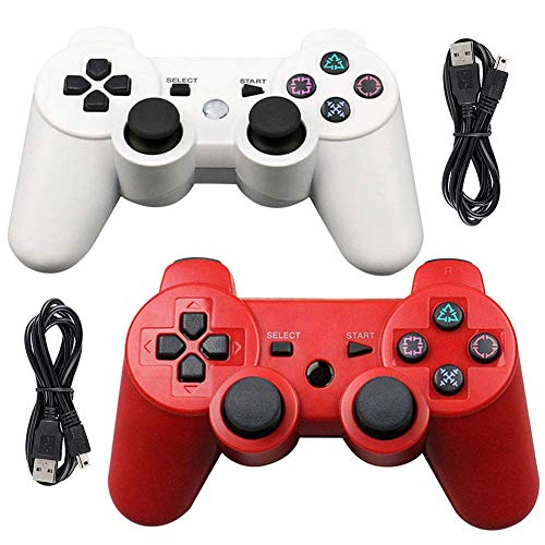 Tidoom PS3 Controller 2 Pack PS3 Wireless Controller Compatible for Playstation 3 Playstation 3 Controller Wireless Bluetooth 6-Axis Gamepad Controllers with 2 pcs Charging Cables Red and White