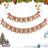 E-Durable Banner Merry Christmas Decoration with Snowflakes Reindeer Bow Christmas bows Christmas garlands Burlap Signal for Holidays Christmas home decor Mantel Decoration Fireplace Hanging Decoration.