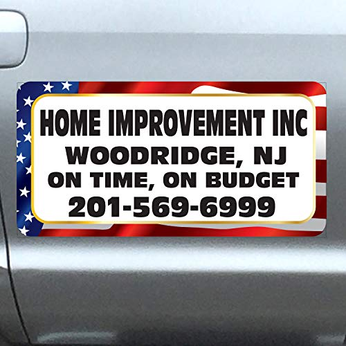 "Vehicle Magnets sign With Custom Lettering 12"" X 24"" (Set of 2) -Landscape, Construction, Handy man, Plumbing, car repair shop - US Flag"