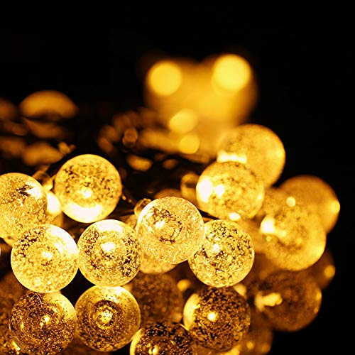 Solar Lichterkette Aussen, 50 LED 7M/23FT Warmweiß Solarlichterkette Außen Wasserdicht Kristallkugel Deko für Garten, Baum, Outdoor, Weihnachten, Party, Hochzeit usw