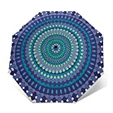 Paraguas De Viaje Tríptico Automático, Ligero Y Fácil De Transportar,Mandala Remolino Geométrico Abstracto Azul
