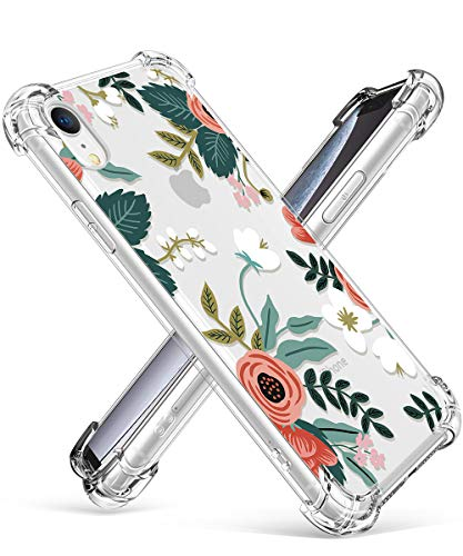 GVIEWIN Case for iPhone XR, Clear Flower Pattern Design Soft & Flexible TPU Ultra-Thin Shockproof Transparent Girls and Women Floral Cover, Cases for iPhone XR 2018 (Petite Flowers/Pink)